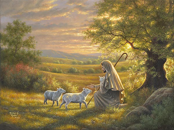 painting of christ and lambs with cross by abraham hunter