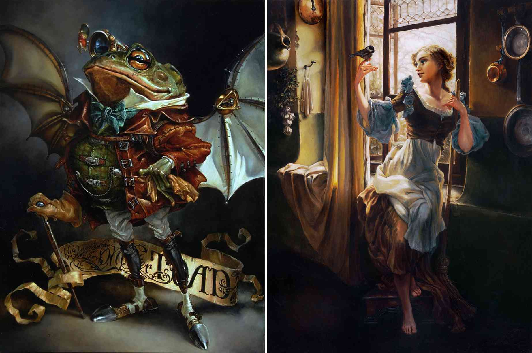mr toad and cinderella realistic paintings